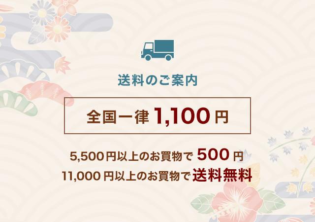 送料のご案内 全国一律1,100円 5,500円以上のお買物で500円 11,000円以上のお買物で送料無料